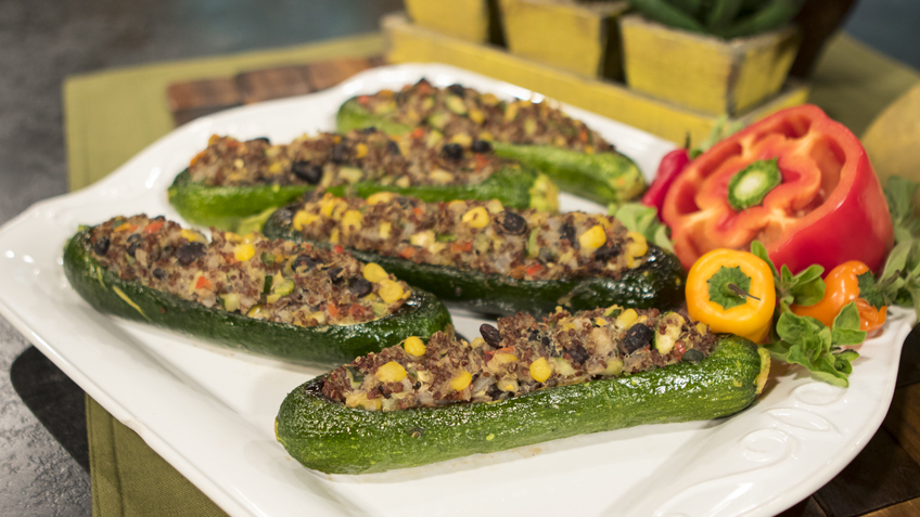Cuban Stuffed Zucchini with Avocado Aioli by The Micheff Sisters