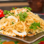 Linguine with Roasted Garlic & Vegan Shrimp by Javier Rentaria