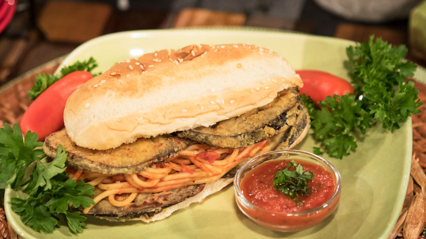 Grilled Eggplant Pasta Sub by the Micheff Sisters